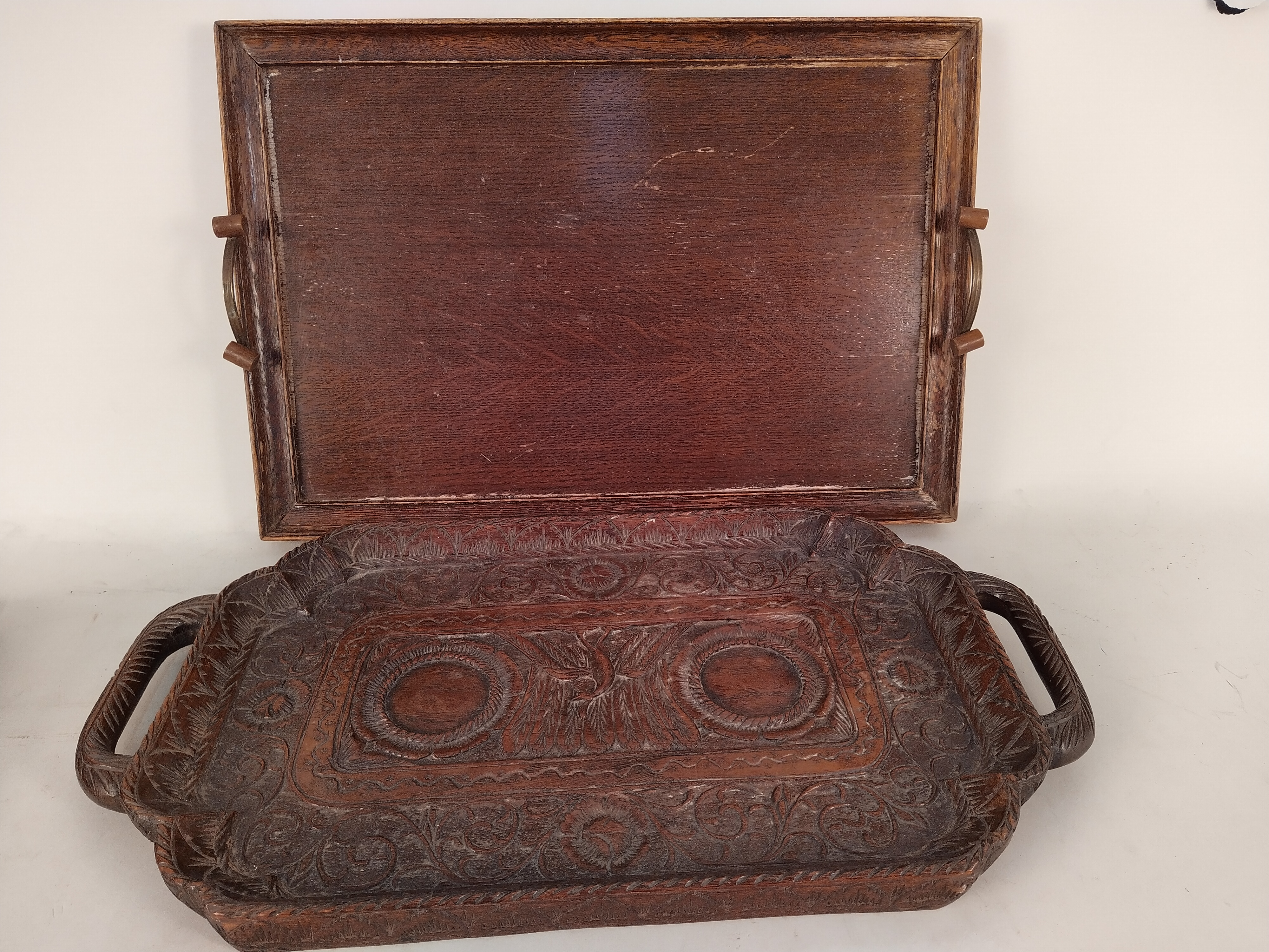 A selection of vintage carved wooden trays including a Trinidad nut tray - Image 2 of 3