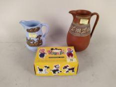 Two Victorian Prattware jugs plus a boxed Pelham puppet 'A7 Bengo'