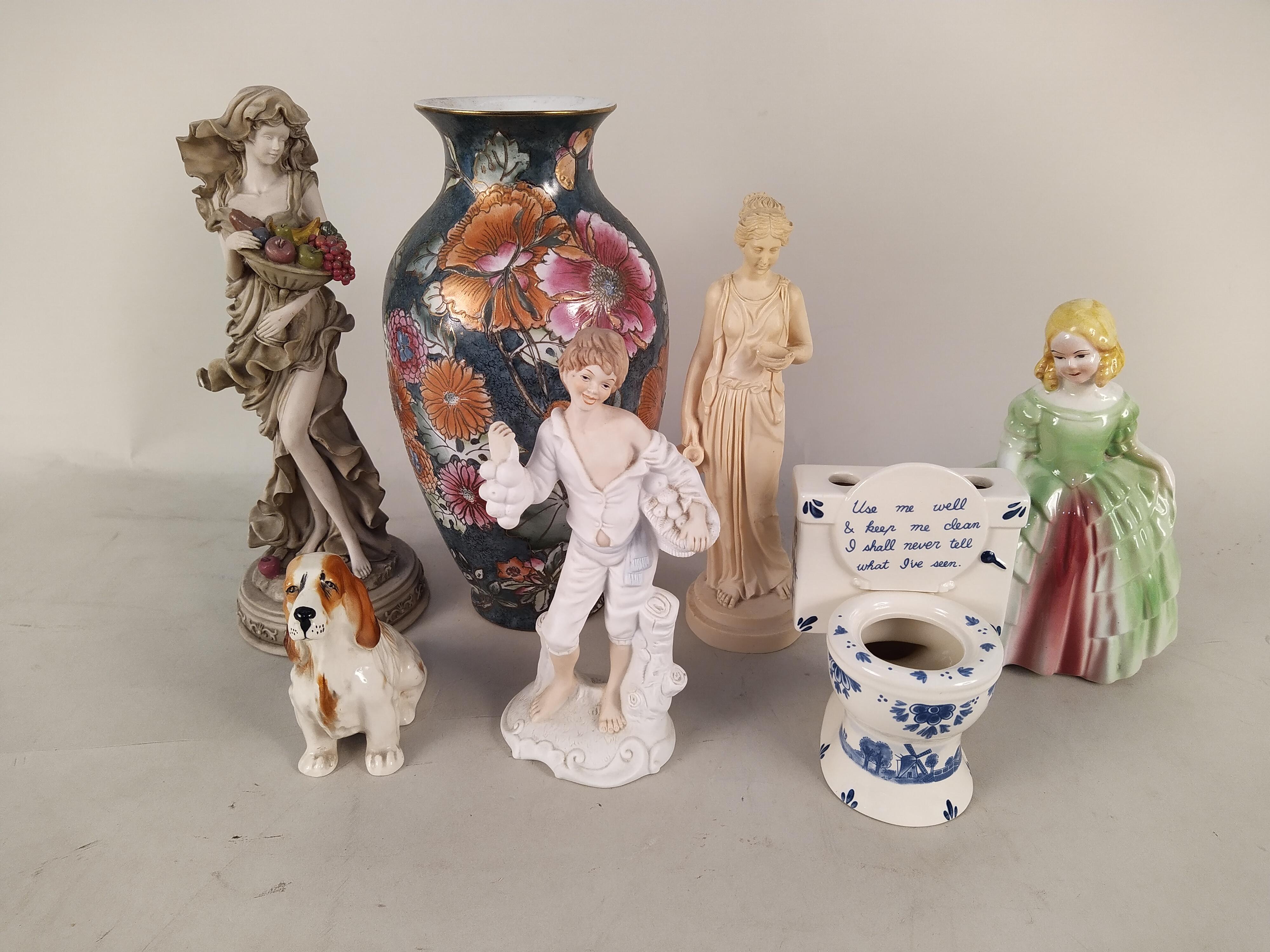 Mixed ceramics including figurines, vases,