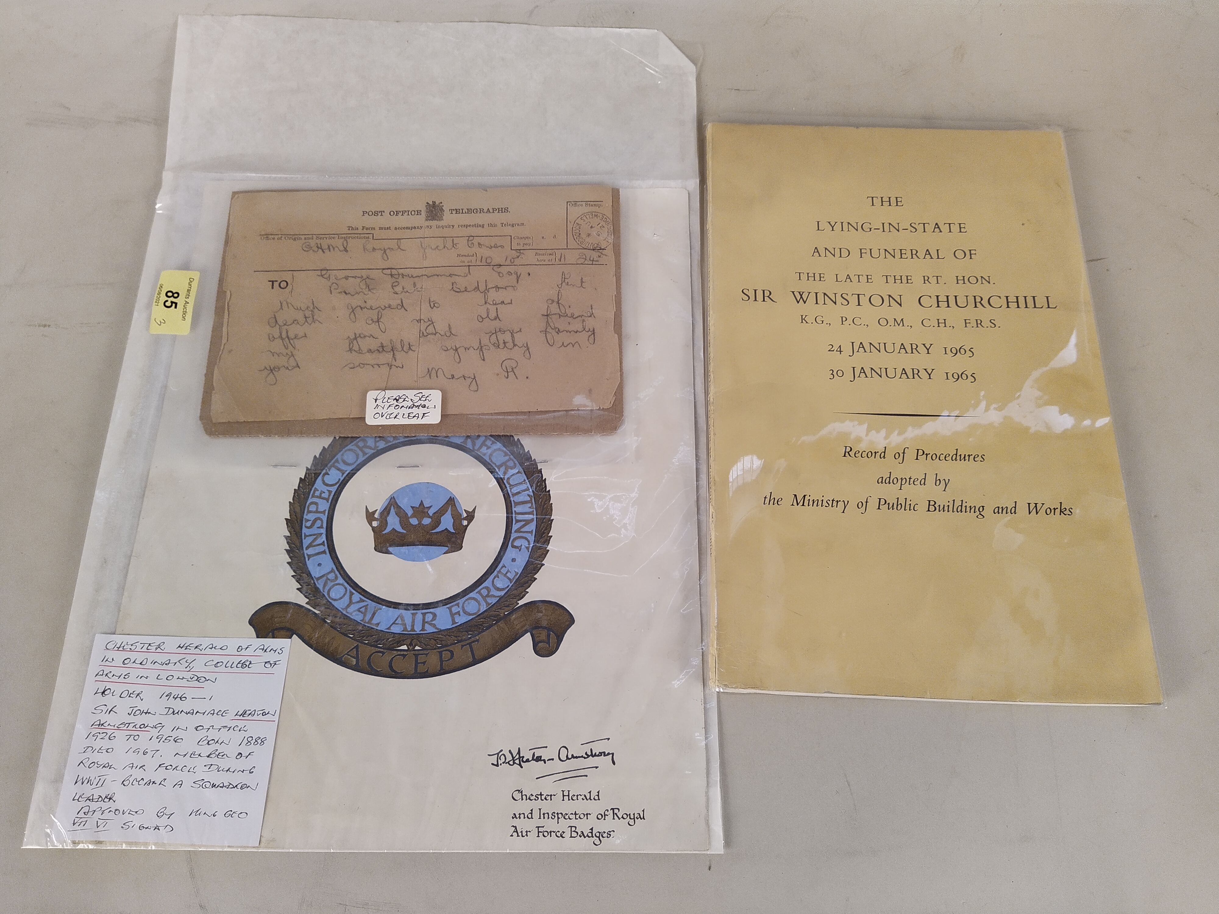 A telegram from Queen Mary from the Royal Yacht at Cowes August 21, subject George Drummond Esq,
