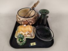 A Doulton style salad dish with matching servers, a Carlton ware lidded sugar,