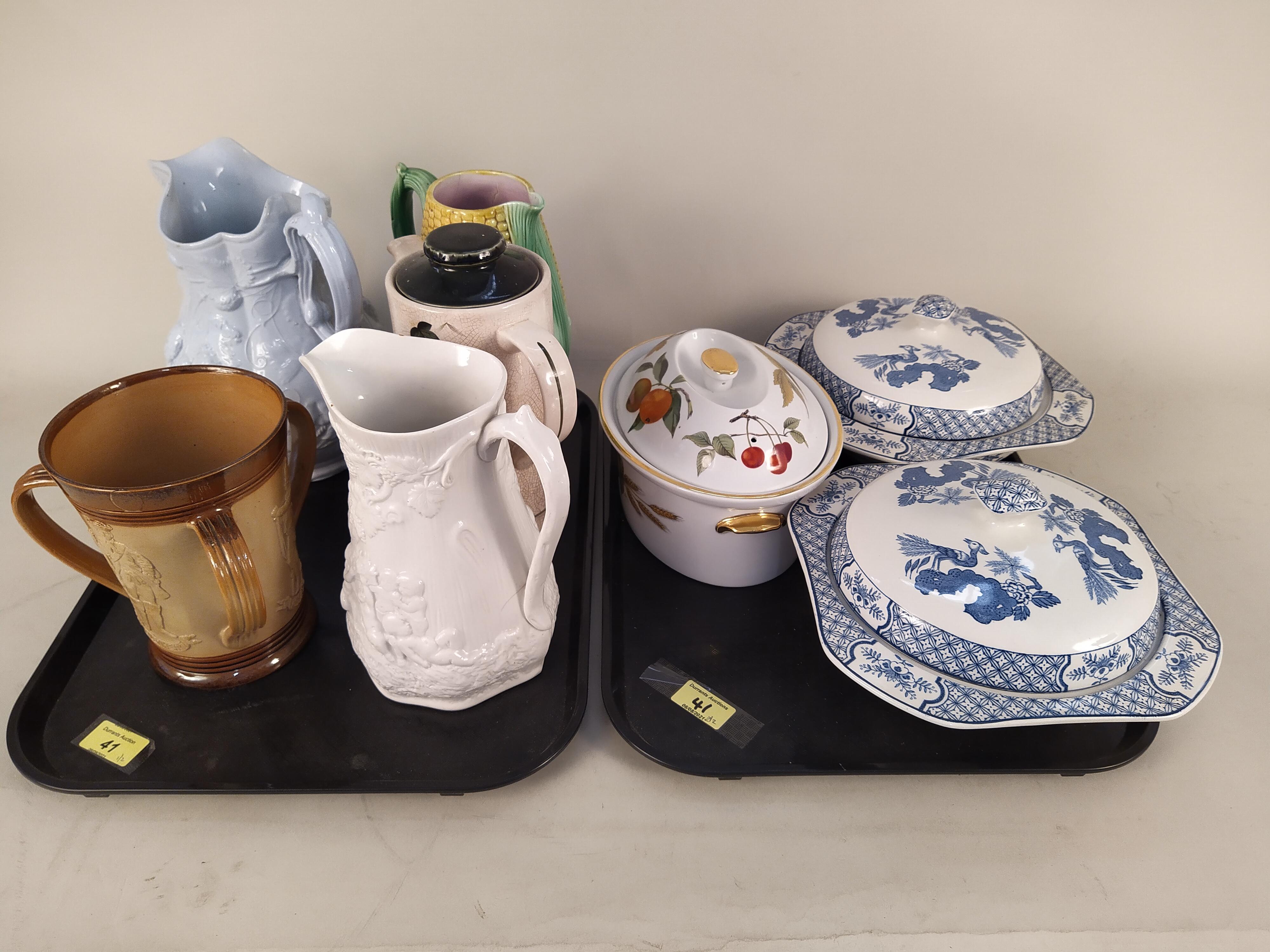 Three Victorian pottery jugs,