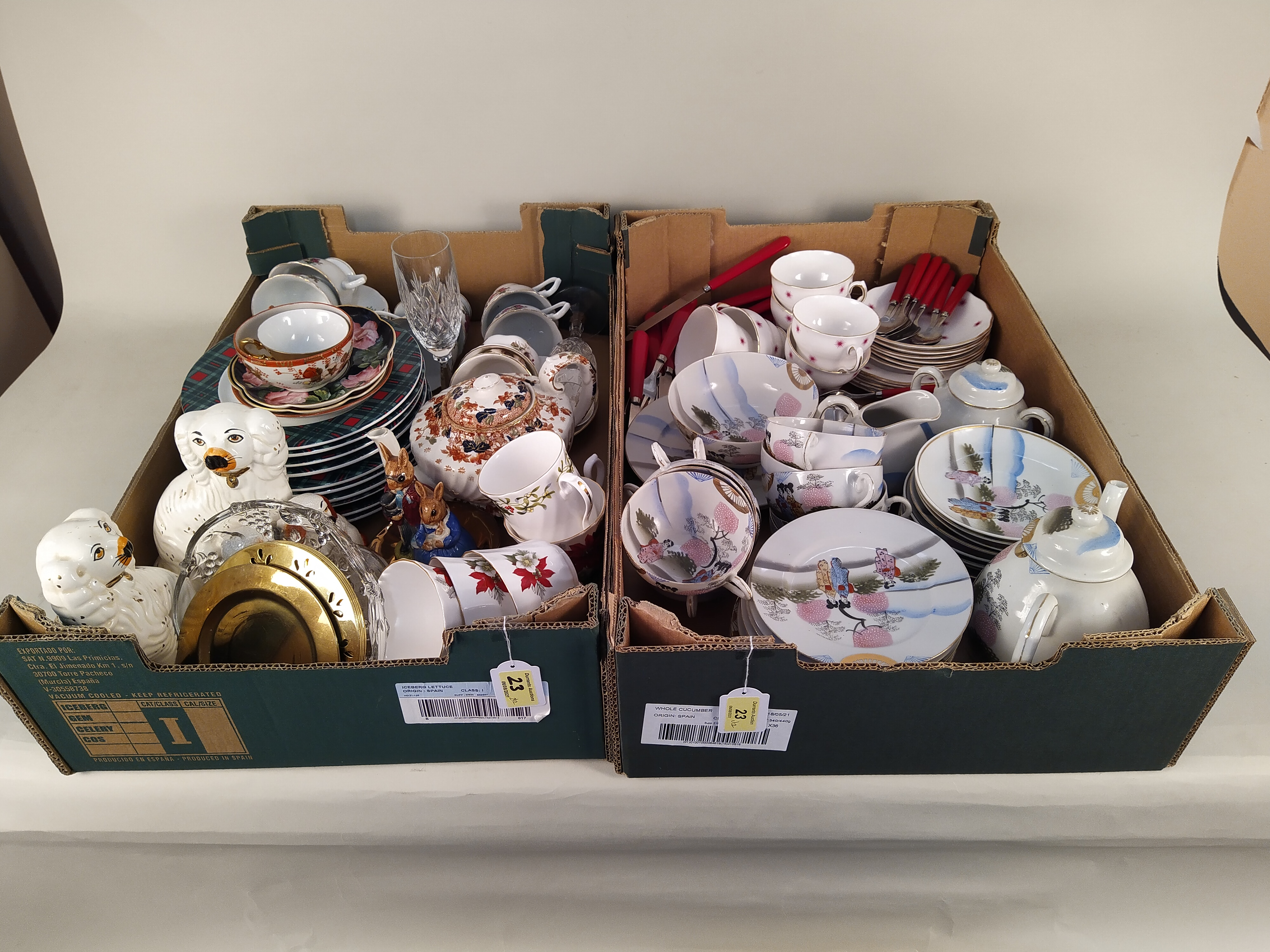 Mixed ceramics including a Japanese tea set and two pairs of Staffordshire style dogs