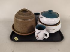 A small selection of Denby 'Green Wheat' china plus a large cheese dome
