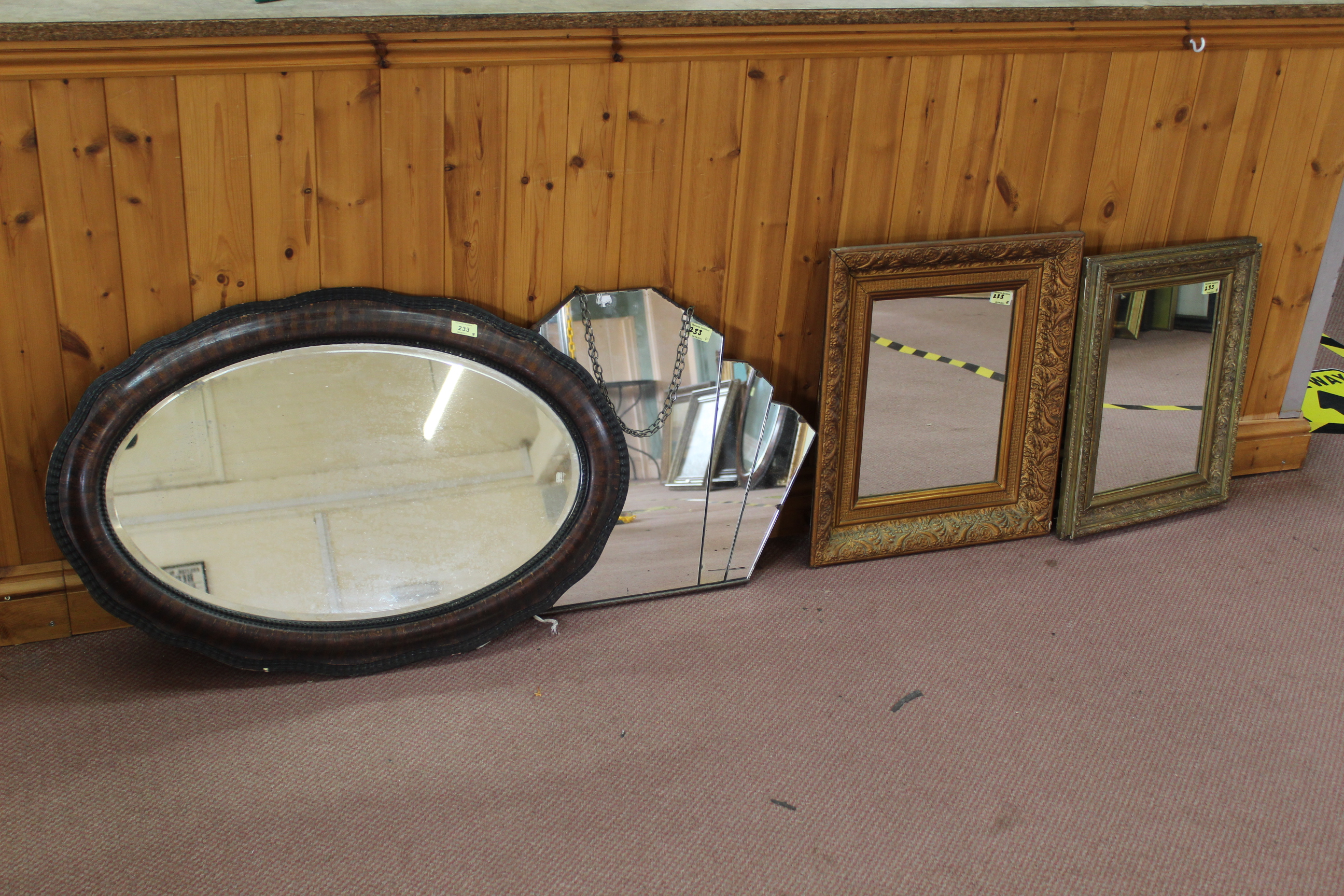 Two gilt framed mirrors,