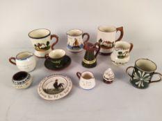 A selection of Devon Motto ware jugs etc, a large Beswick vase, Bretby vase,