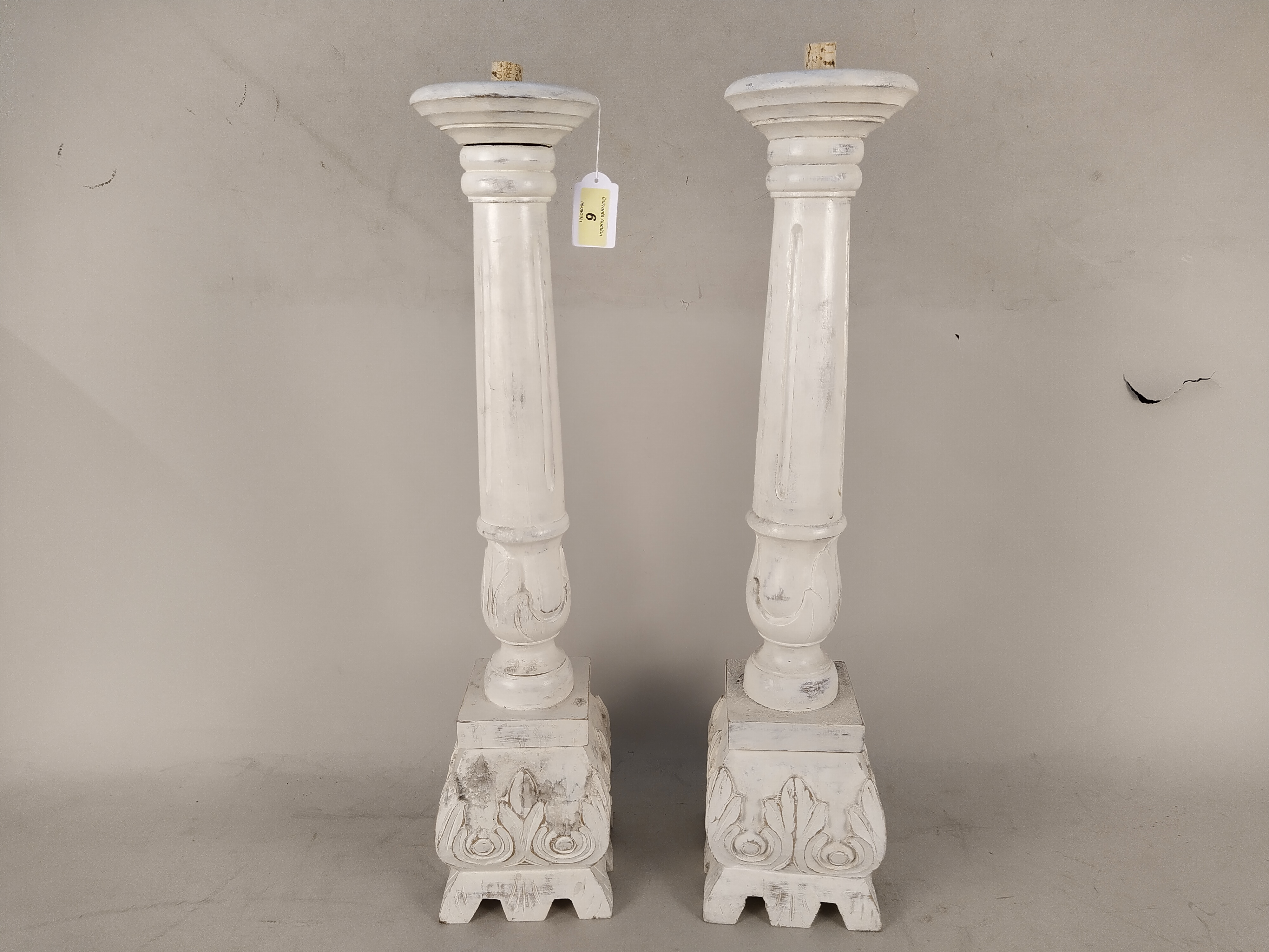 A pair of large white finish and distressed wood candle stands, - Image 2 of 3