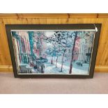 A large framed print of a street scene by Peter Hayward plus a box of mixed pictures,