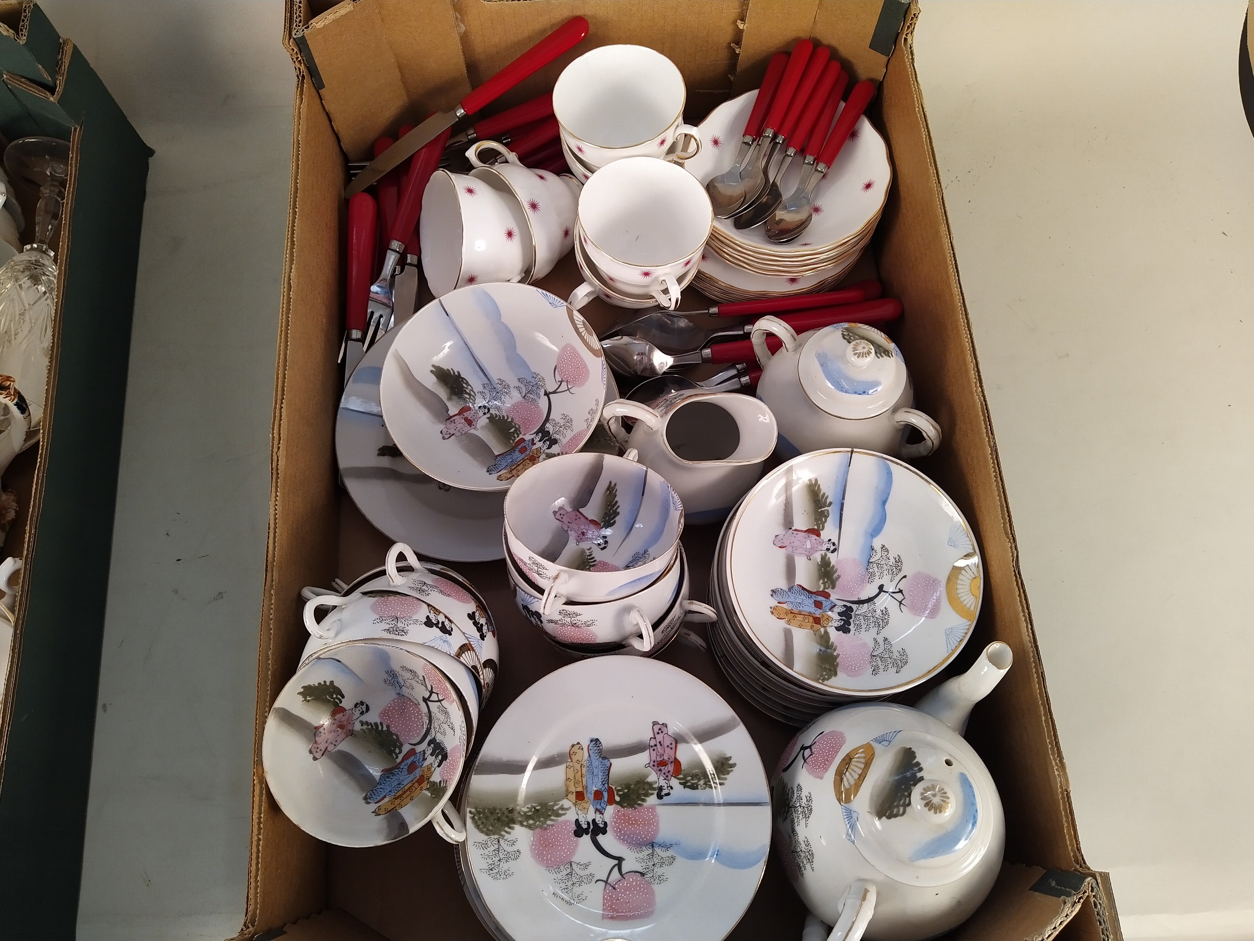 Mixed ceramics including a Japanese tea set and two pairs of Staffordshire style dogs - Image 2 of 3