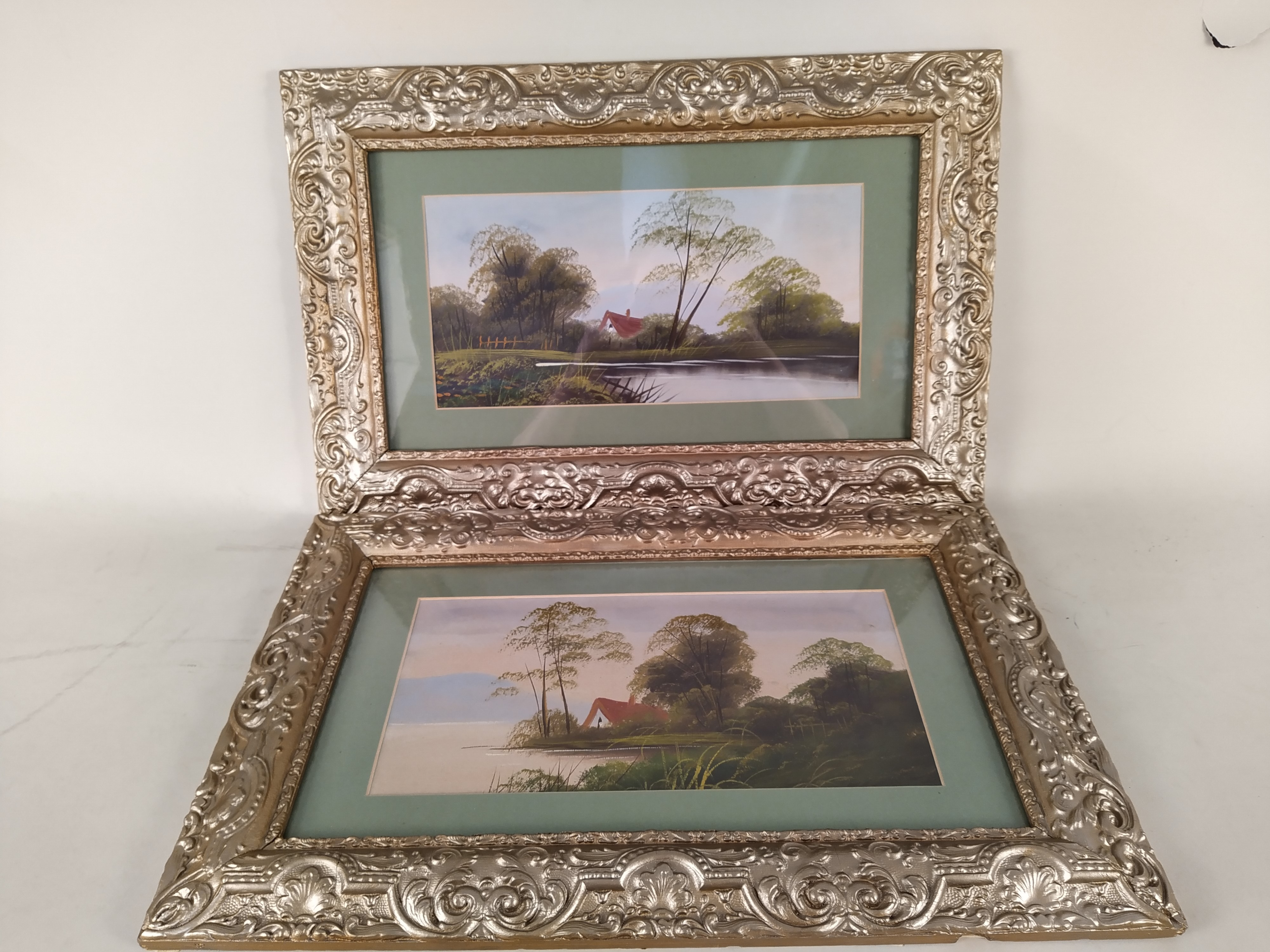 A selection of framed watercolours including a pair of forest scenes signed C Mutsears,