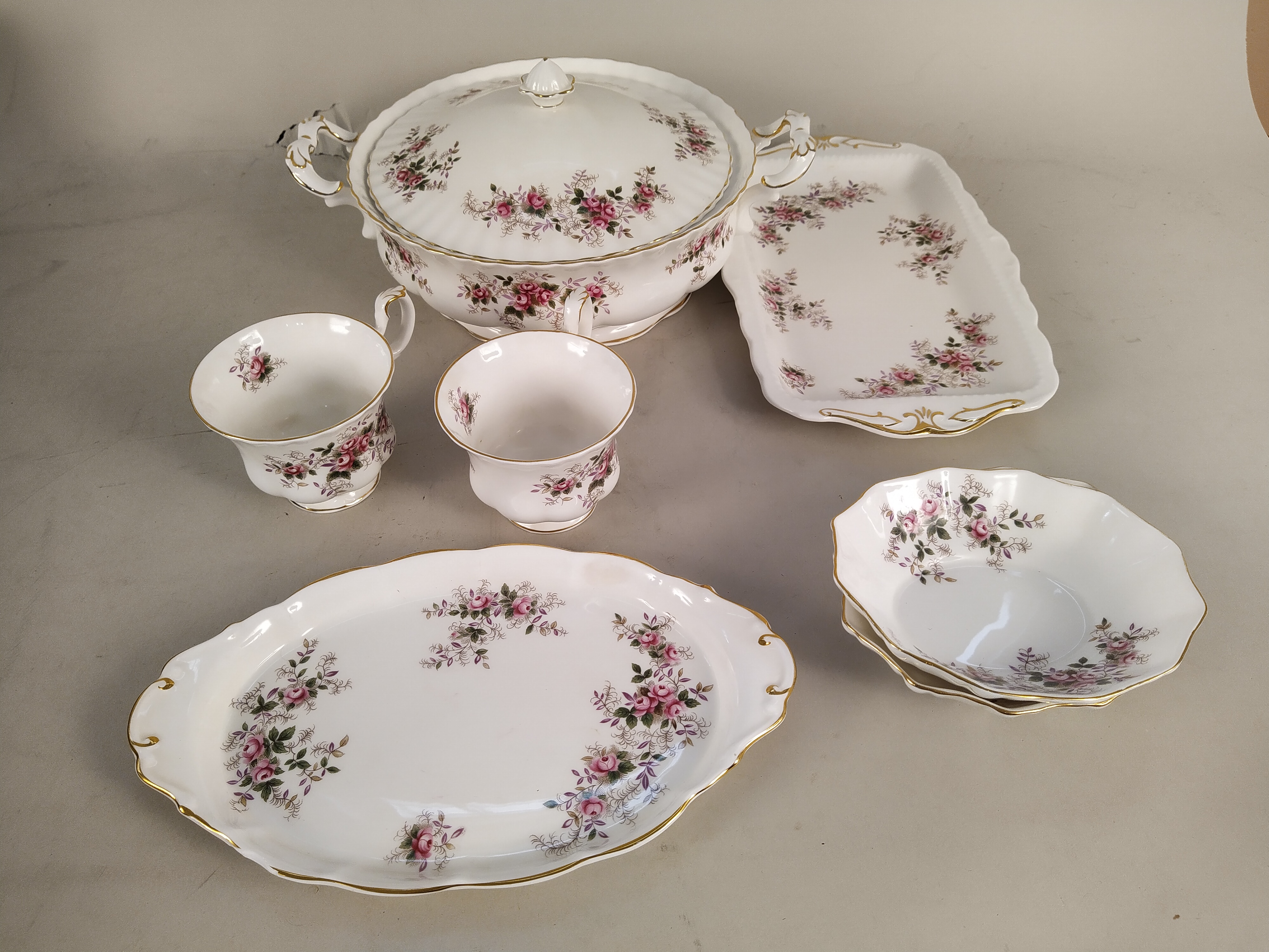 A large collection of Royal Albert 'Lavender Rose' tea and dinner wares