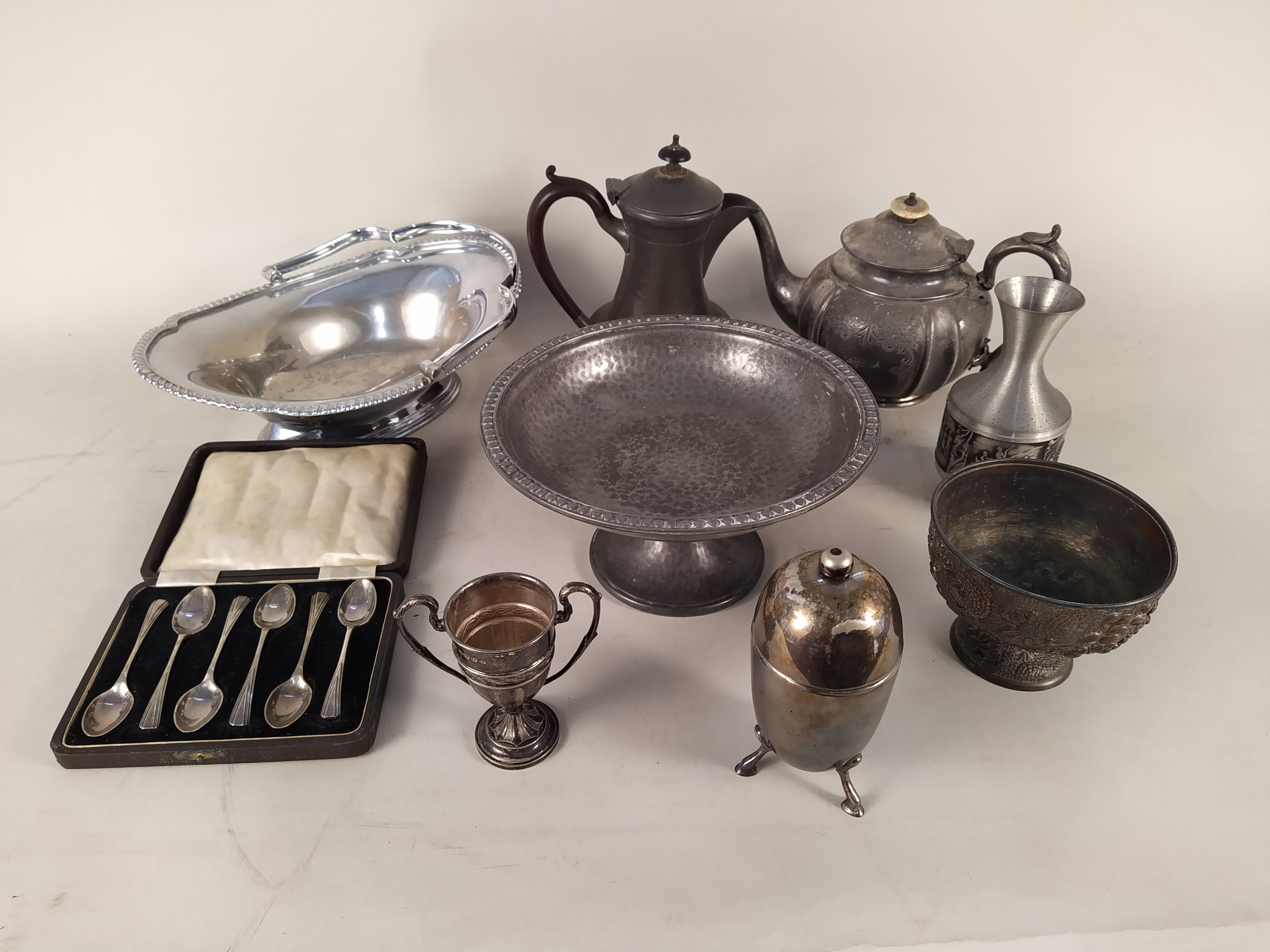 A mixed selection of silver plate and pewter wares