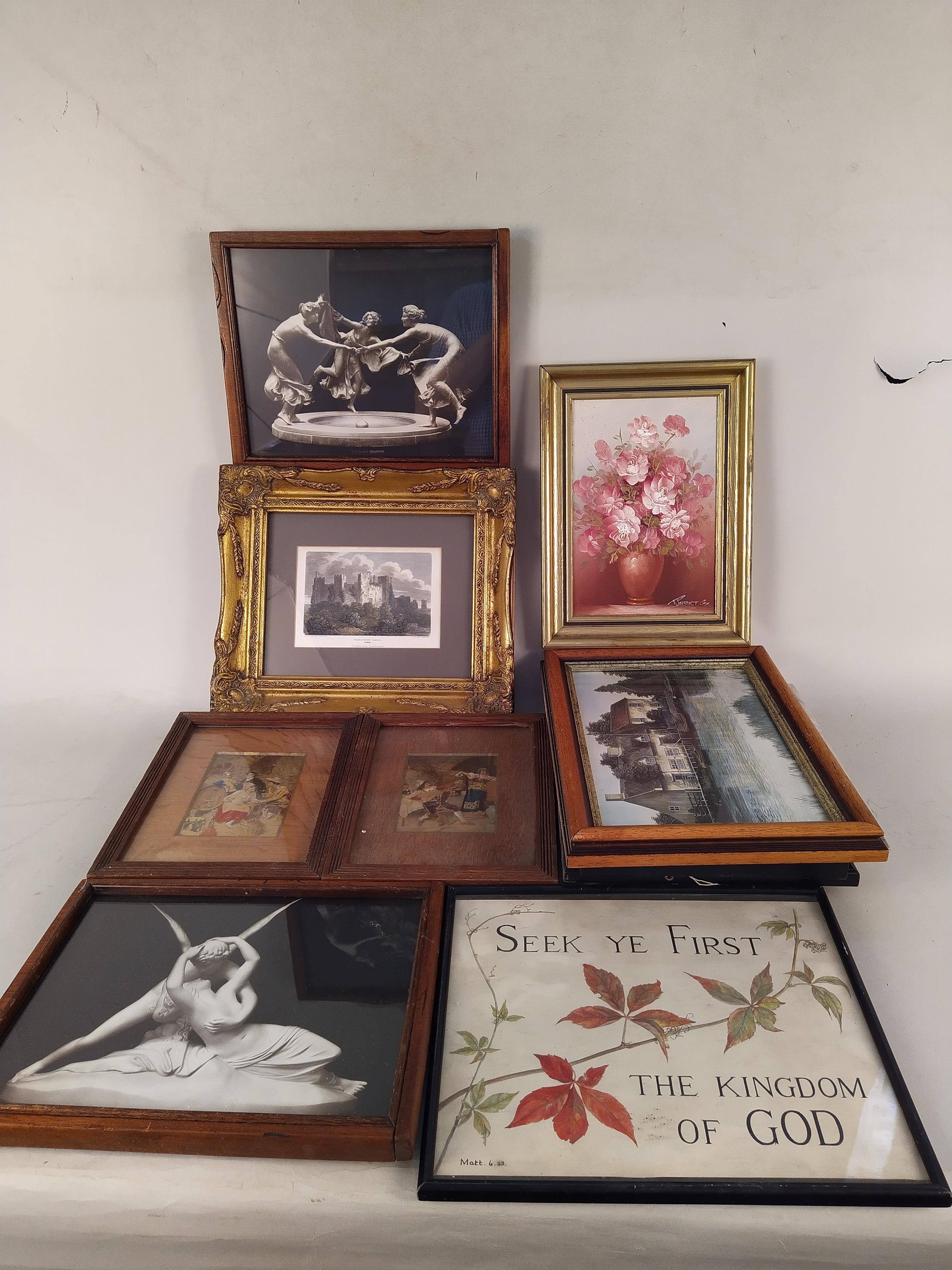 Eight assorted framed prints on various subjects