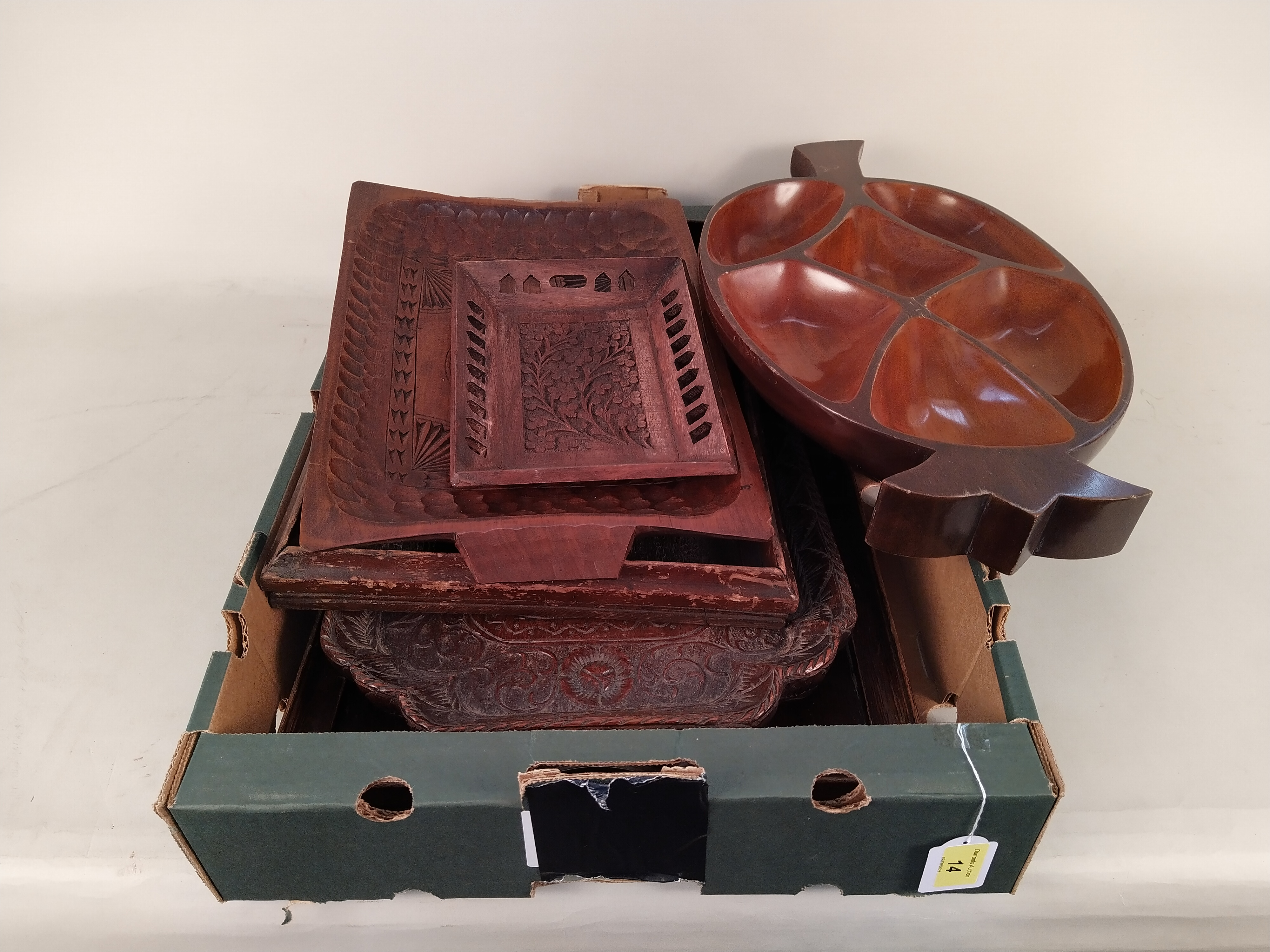 A selection of vintage carved wooden trays including a Trinidad nut tray - Image 3 of 3