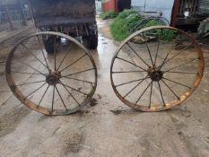 2 EX Sunshine Drill steel wheels 50inches across 6 inches wide. Stored near Harleston, Norfolk.