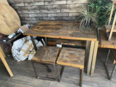 Rustic Industrial style Table and 2 x Stools (78cm x 130cm x 77cm high) (Stools 40cm x 40xm x 46xm