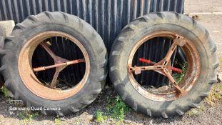 Pair of Bettinson style 11x28 dual wheels. Stored near Eye, Suffolk.