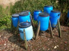 8 Pheasant Barrel Feeders with various outlets. Stored near Beccles, Suffolk. No VAT on this lot.