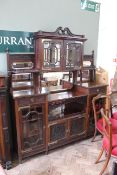 A late Victorian mahogany sideboard/display cabinet in Chinese Chippendale revival style