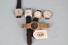 Five assorted gents wristwatches including Buler and Timex