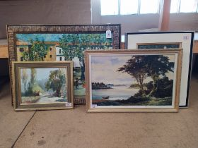 Four various oil paintings including D.C.