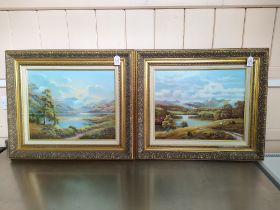 Wendy Reeves pair of oils on canvas, one with mountains and lake scene 49cm x 39.