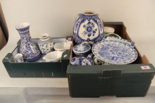 A large quantity of Dutch Delft pottery items