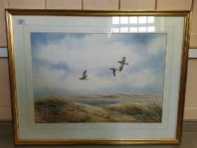 """Simon T Trinder watercolour """"Curlew at Scolb Head"""", depicting birds in flight with beach scene,"""