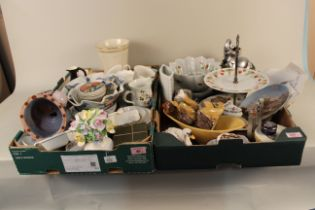 Two boxes of mixed ceramics