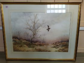 Simon T Trinder watercolour of a woodcock in flight in winter,
