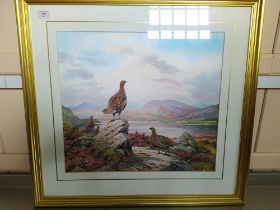 Carl Donner (1957-) watercolour grouse in a mountainous landscape, signed bottom right,