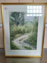 Simon T Trinder watercolour of stoats in a country lane setting,