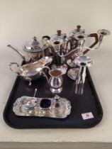 A quantity of good quality silver plated wares including a pair of Art Deco Walkers & Hall tea and