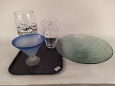 """Four pieces of Boda style glassware including a dish 15 1/4"""" in diameter and two vases and a footed"""