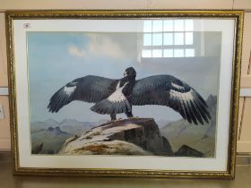 John Cyril Harrison (1898-1985) watercolour of an eagle with outstretched wings on rocky tor,