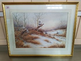 """Simon T Trinder watercolour """"Put Up By a Fox"""" pheasants flushed up by a fox in winter landscape,"""