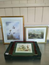 """A framed print of a partridge in flight 31cm x 44cm together with a limited edition print """"Rules of"""