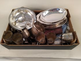 A box of mixed silver plated wares and mixed cutlery etc