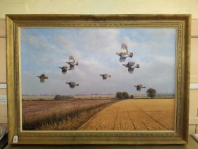 Julian Novorol (1949-) very large oil on canvas of partridges in flight over a field,