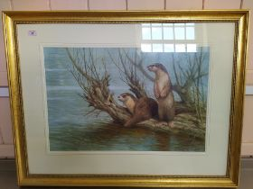Neil Cox (1955-) watercolour of a pair of otters on a branch in a river,