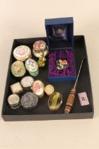 A selection of various vintage patch and snuff boxes including modern examples and boxed Halcyon
