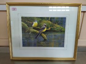 Neil Cox (1955-) watercolour of a pair of yellow wagtails by a river,