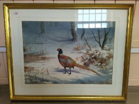 """John Cyril Harrison (1898-1985) watercolour """"The First Snow Pheasant"""" with Tryon Gallery Ltd label"""