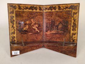 A mid 19th Century Tunbridgeware book rest with inlaid panels on burr walnut,