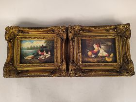 A small pair of oils on board of chicks and ducks, both signed bottom right Hunt,