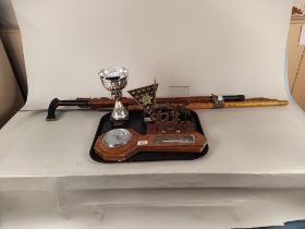 A mixed lot including two Pool League trophies, an oak barometer, a letter rack,
