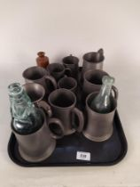 Assorted pewter tankards with Southwold Cod bottle plus a stoneware pot