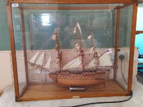 A wooden model of HMS Victory,
