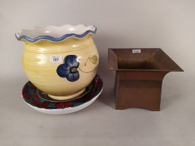 A large jardiniere plus a large Italian dish decorated with poppies,