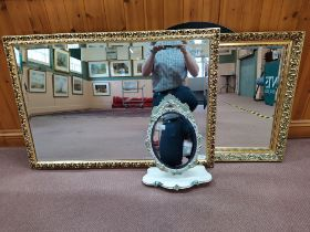 Two large gilt framed mirrors,